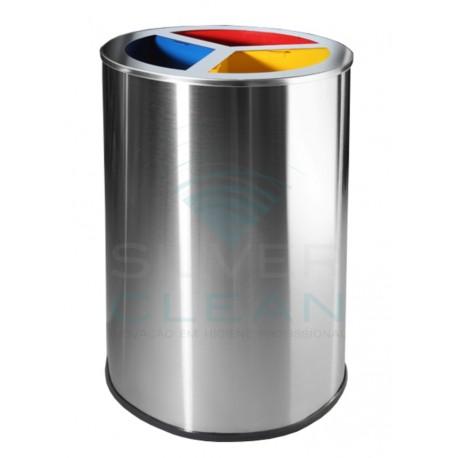 Papeleira Redonda com Separadores Reciclagem
