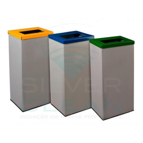 Papeleira Retangular com 3 Cubos Reciclagem